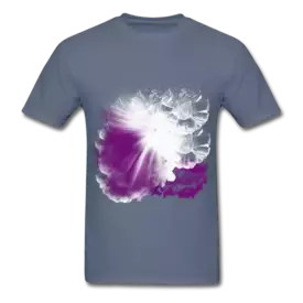 Abstract design featuring the sun shining through purple clouds. Promotional Clothing.