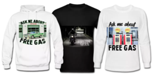 Custom Free Gas Promotional Clothing Apparel t-shirts tshirts hoodies tank tops sweatshirts long sleeve shirts