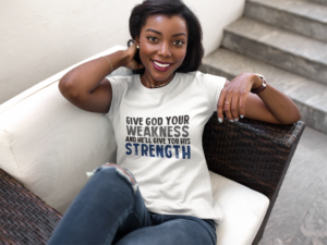 Beautiful African American Christian female wearing a custom promotional clothing branded t-shirt.