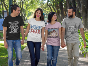 Two couples wearing custom promotional clothing branded t-shirts