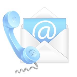 Telephone with an email card in an envelope for contact about promotional clothing.